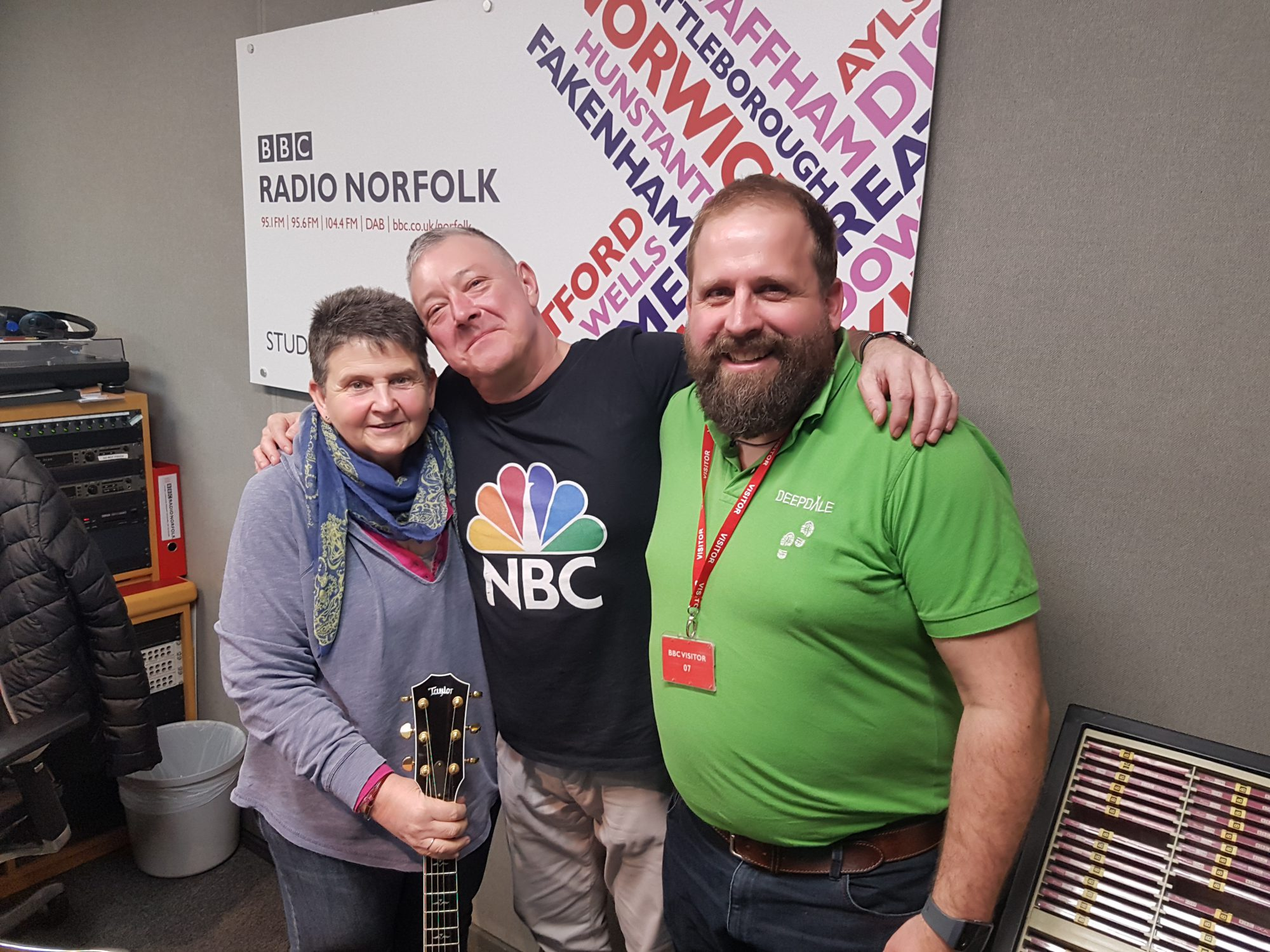 Jason and Marina with Stephen Bumfrey at BBC Radio Norfolk