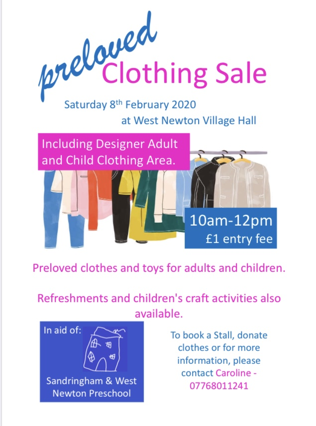 Preloved Clothing Sale, Weston Newton Village Hall, West Newton, Norfolk, PE31 6AY | High end brand, great quality preloved clothes. Come along and grab a bargain! | Sale, clothes, bargains, shopping, children, family, free, fair, kids
