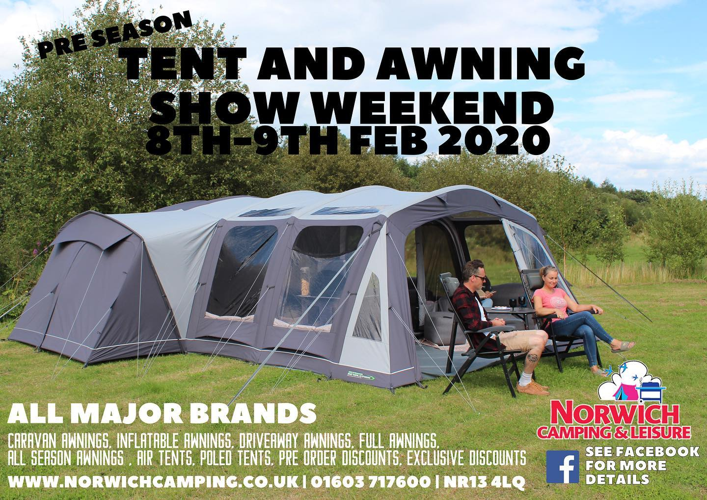 Pre Season tent & Awning Show Weekend, Norwich Camping & Leisure, 58 Yarmouth Road, Blofield, Norfolk, NR13 4LQ | This show weekend is back for 2020 and is the ideal time to grab a 2019 bargain or see what's new from leading brands for the New year. | Camping, Sale, Caravan, Awning, Camping Supplies, Cadac, Coleman, Kampa, Isabella, Outdoor revolution, Zempire
