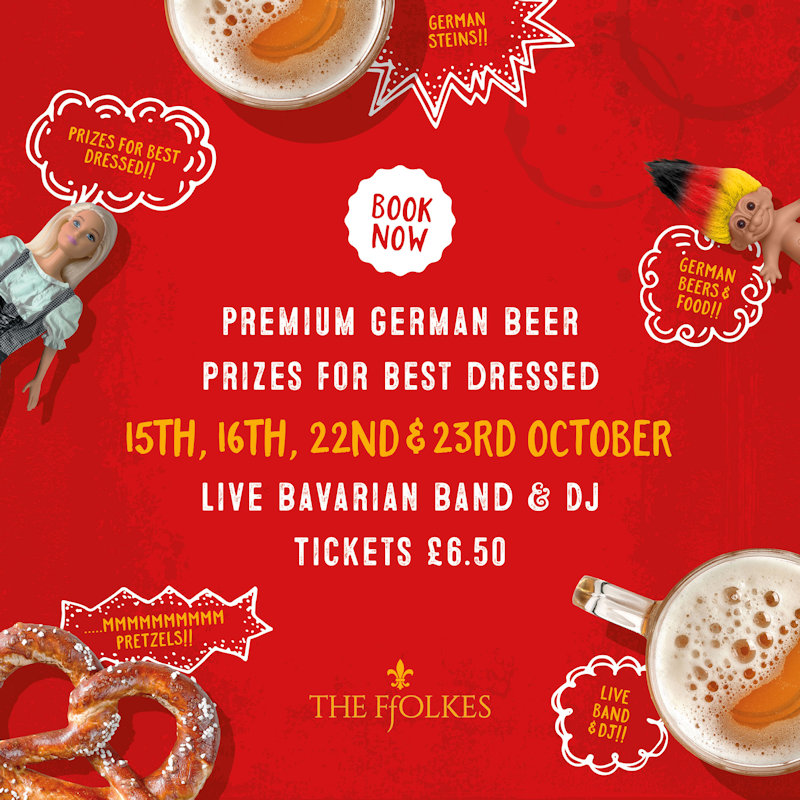 OktoberFEAST at Street Feast, The Ffolkes, Lynn Road, Hillington, Kings Lynn, Norfolk, PE31 6BJ | For two weekends in October, Street Feast at The Ffolkes is giving you OktoberFEAST! | food, foodie, bavarian food, music, live music, beer, food and drink, brass band, oompah band, burgers, tacos, loaded fries, bao buns, pretzels