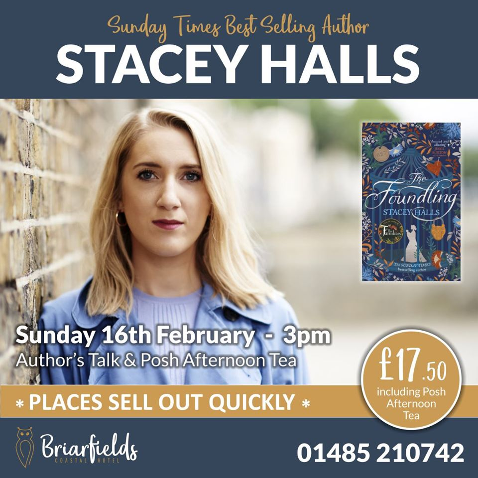 Stacey Halls - Author Talk & Afternoon Tea, Briarfields Hotel, Main Road, Titchwell, Norfolk, PE31 8BB | A unique opportunity to hear and meet Sunday Times Bestselling author Stacey Halls at Briarfields' next Bookfest event. | Book event, Afternoon Tea, Booksigning, Sunday times Bestseller, Briarfields, Norfolk Coast