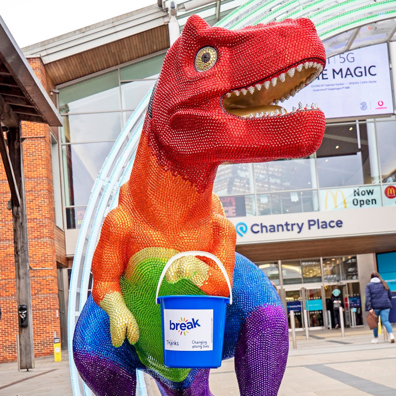 GoGo Discover, Norwich, Norfolk, England | GoGoDiscover is Break's latest art trail in partnership with Wild in Art. 21 individually designed Trex sculptures on the streets of Norwich. | gogo discover, norwich, tyrannosaurus, rex, sculptures, break, charity, trail, walk