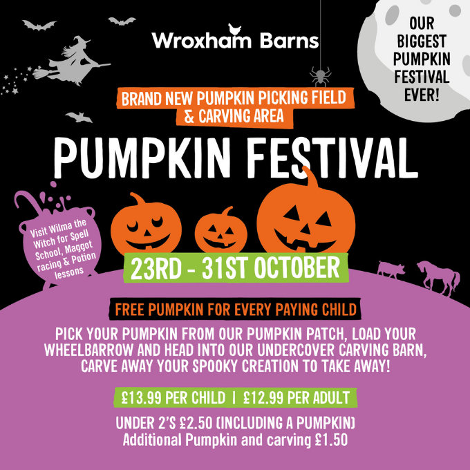 Wroxham Barns Pumpkin Festival | Join the Wroxham Barns Team & Wilma Witch for a family filled day of Pumpkin Picking and all inclusive activities | Wroxham Barns, Tunstead Road, Hoveton, Norfolk, NR12 8QU