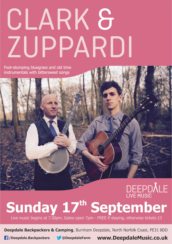 Clark & Zuppardi - Sunday Session, Deepdale Backpackers & Camping, Deepdale Farm, Burnham Deepdale, North Norfolk Coast, PE31 8DD | Nic Zuppardi and Adam Clark join forces as Clark & Zuppardi, blending original compositions infused with a passion for foot-stomping bluegrass and old time music with traditional songs and tunes. | deepdale, hygge, festival, music, live, danish, happiness, celebration, north norfolk coast, activities, good, feelings, roaring, fire, foraging, walking, cycling, running, wildlife, nature