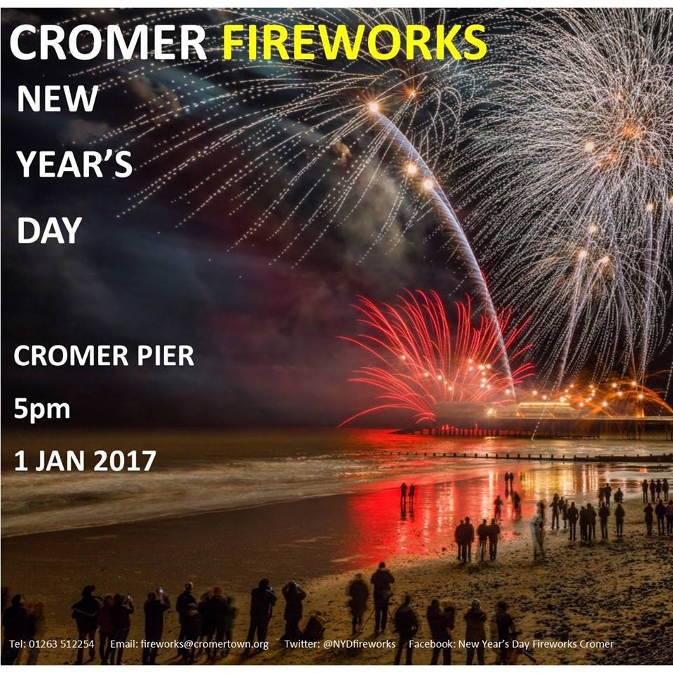 New Year's Fireworks, The Promenade, Cromer, Norfolk, NR27 9HW | Cromer Pier will again be the backdrop for the annual New Year Day Firework Display | cromer, fireworks, new year, north norfolk coast