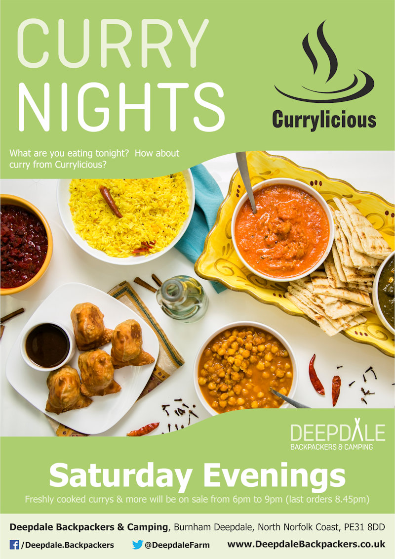 Deepdale Curry Night, Deepdale Backpackers & Camping, Deepdale Farm, Burnham Deepdale, North Norfolk Coast, PE31 8DD | Join us for delicious street food curry from Currylicioius at Deepdale Backpackers & Camping during the evening. Eat in the backpackers courtyard, take back to your tent or get a takeaway to take back home with you elsewhere in the village. | pizza, night, deepdale, backpackers, wood, fired, pizza, company, camping, campsite, evening, meal