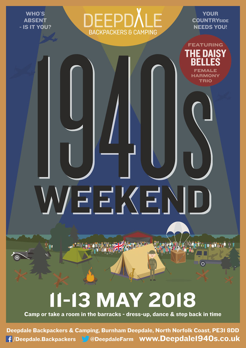 Deepdale 1940s Weekend, Deepdale Backpackers & Camping, Deepdale Farm, Burnham Deepdale, North Norfolk Coast, PE31 8DD | When one of our crew suggested a visit to the stylish 1940s, how could we say no ... So we invite you to join us for a step back in time, including 1940s movie night, dance lessons, and the Daisy Belles in concert. | 1940s, weekend, nineteen, forties, daisy, belles, barracks, hairaid, shelter, air, raid, army, navy, force