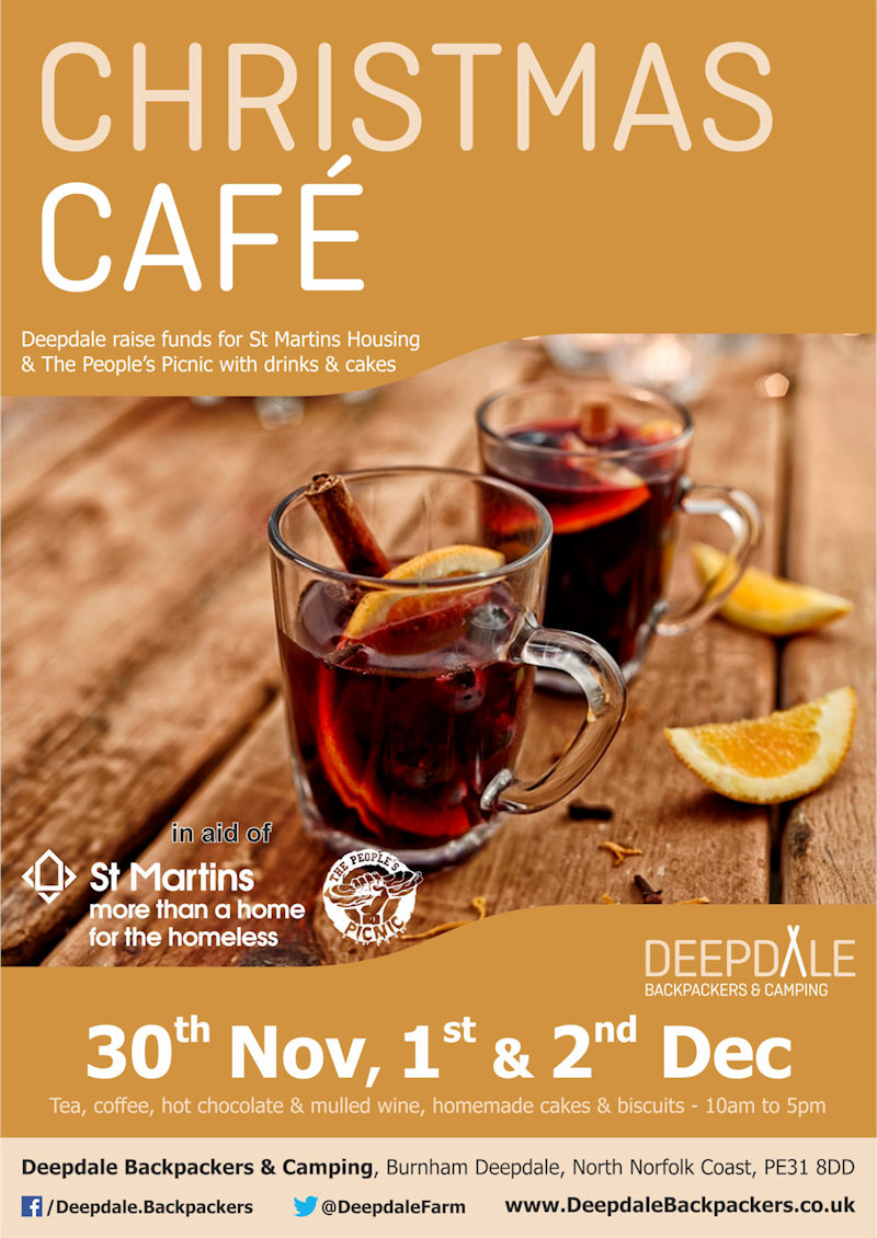 Charity Cafe @ Deepdale Christmas Market | The crew of Deepdale Backpackers & Camping will be serving hot drinks, mulled wine, homemade cakes and biscuits from the kitchen of the backpackers hostel. - Dalegate Market | Shopping & Café, Burnham Deepdale, North Norfolk Coast, England, UK