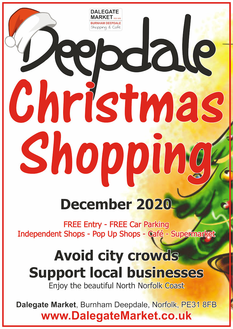 Deepdale Christmas Shopping | Avoid those city crowds, support local businesses, and enjoy the beautiful North Norfolk Coast, by doing your Christmas shopping at Dalegate Market in Burnham Deepdale this festive season. - Dalegate Market | Shopping & Café, Burnham Deepdale, North Norfolk Coast, England, UK