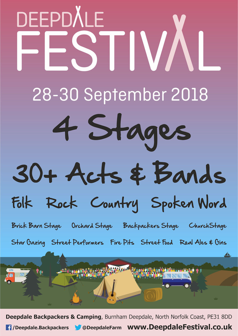 Deepdale Festival 2018 | After the success of the 2017 Deepdale Festival, we'll host our second annual music festival at Deepdale Backpackers & Camping over the last weekend of September 2018. | Deepdale Backpackers & Camping, Deepdale Farm, Burnham Deepdale, North Norfolk Coast, PE31 8DD