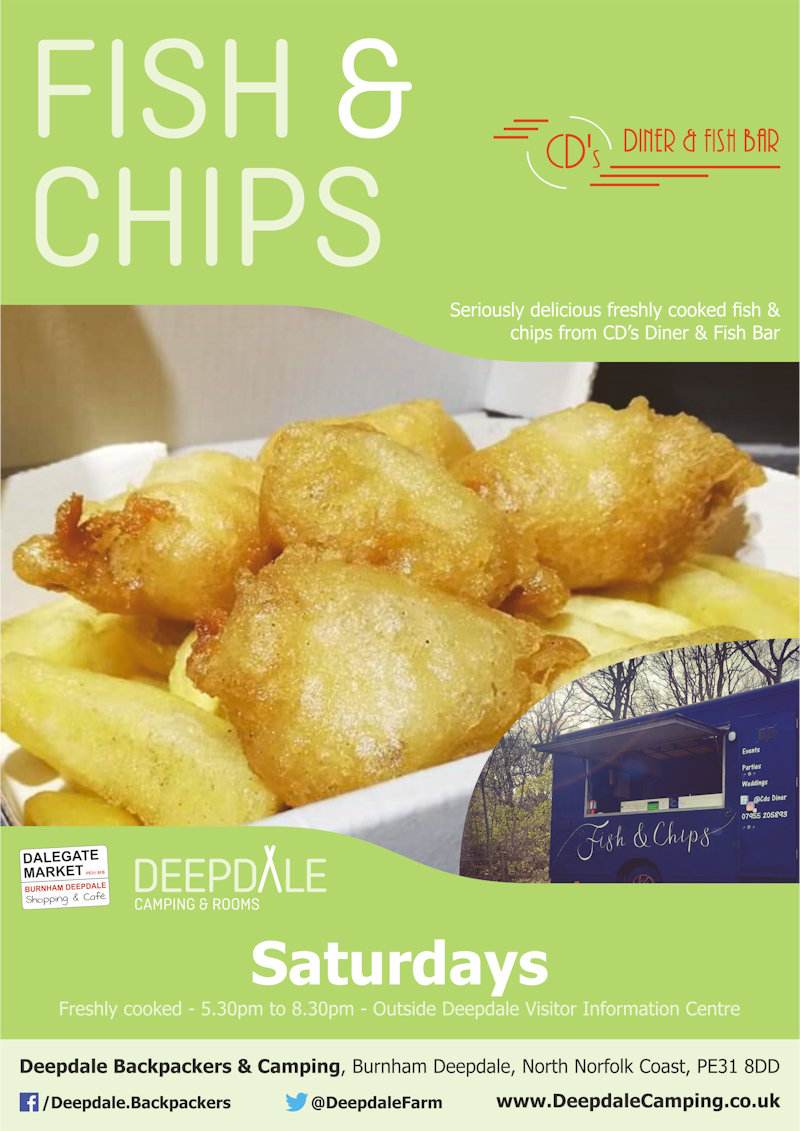 Deepdale Fish & Chips, Deepdale Camping & Rooms, Deepdale Farm, Burnham Deepdale, Norfolk, PE31 8DD | Very tasty Fish & Chips from CDs Diner & Fish Bar served up at Deepdale Camping & Rooms on Saturday evenings. | fish, chips, food, takeaway, night, deepdale, camping, rooms