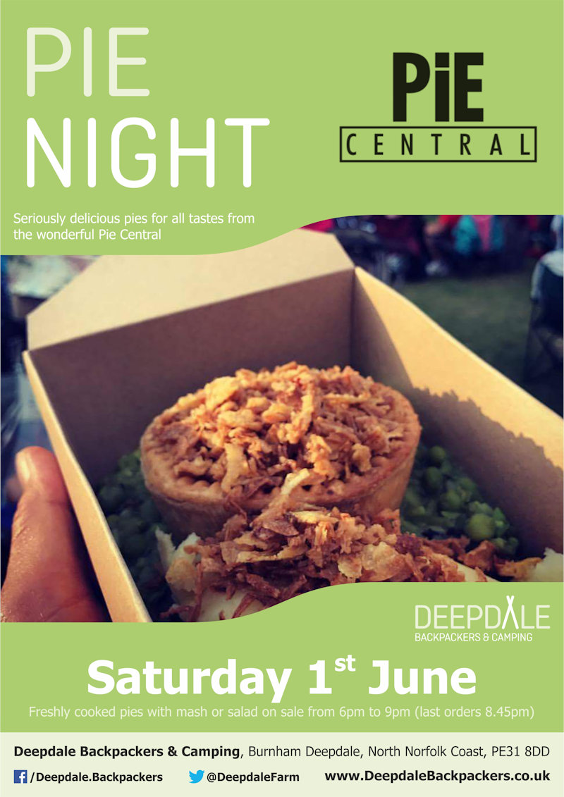 Deepdale Pie Night | Seriously tasty pies from the ever wonderful Pie Central, served up at Deepdale during the evening.  Eat in the backpackers courtyard, take back to your tent or get a takeaway to take back home with you elsewhere in the village. - Dalegate Market | Shopping & Café, Burnham Deepdale, North Norfolk Coast, England, UK