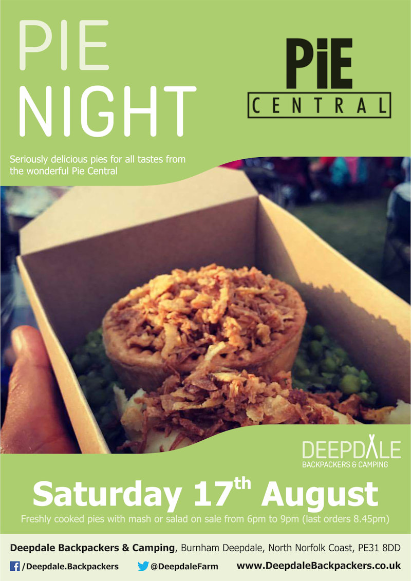 Deepdale Pie Night | Seriously tasty pies from the ever wonderful Pie Central, served up at Deepdale during the evening.  Eat in the backpackers courtyard, take back to your tent or get a takeaway to take back home with you elsewhere in the village. | Deepdale Backpackers & Camping, Deepdale Farm, Burnham Deepdale, North Norfolk Coast, PE31 8DD