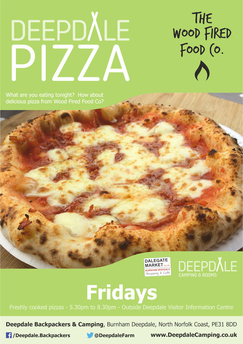 Deepdale Pizzas | Very tasty takeaway wood fired pizzas from The Wood Fired Food Co. served up at Deepdale Camping & Rooms during the evening on Fridays. | Deepdale Camping & Rooms, Deepdale Farm, Burnham Deepdale, North Norfolk Coast, PE31 8DD