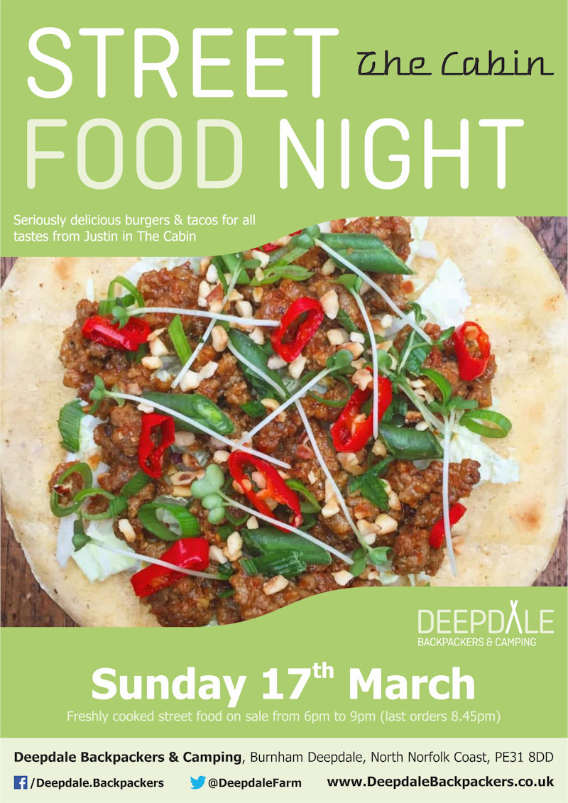 Deepdale Street Food Night, Deepdale Camping & Rooms, Deepdale Farm, Burnham Deepdale, North Norfolk Coast, PE31 8DD | Freshly cooked burgers & tacos from The Cabin (vegan options available), served up at Deepdale Backpackers & Camping during the evening. Eat while enjoying live music from the Gentlemen of Few or get a takeaway to take elsewhere in the village. | street, food, deepdale, backpackers, cabin, burgers, wings, fries, tacos