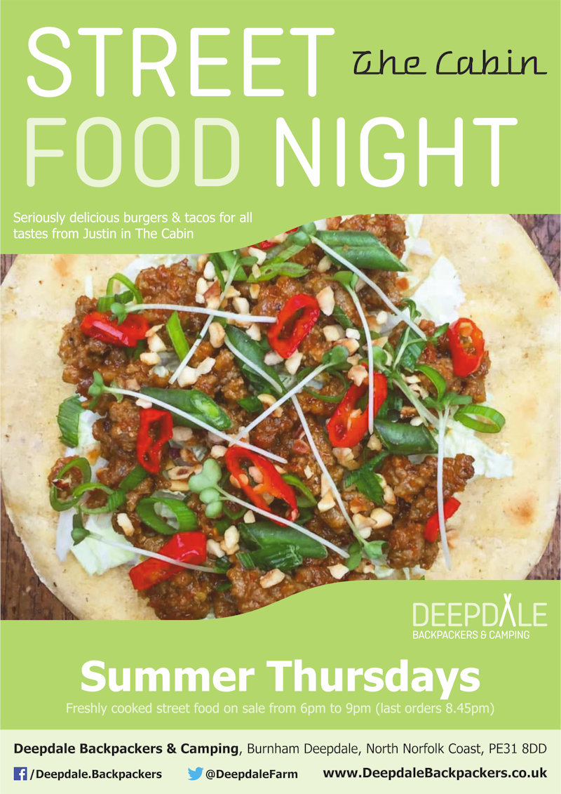 Deepdale Street Food Night, Deepdale Backpackers & Camping, Deepdale Farm, Burnham Deepdale, North Norfolk Coast, PE31 8DD | Seriously delicious, freshly cooked tacos, burgers & fries from The Cabin, served up at Deepdale Backpackers & Camping during the evening.  Eat in the courtyard, take back to your tent or get a takeaway to take elsewhere in the village. | street, food, deepdale, backpackers, cabin, burgers, wings, fries, tacos
