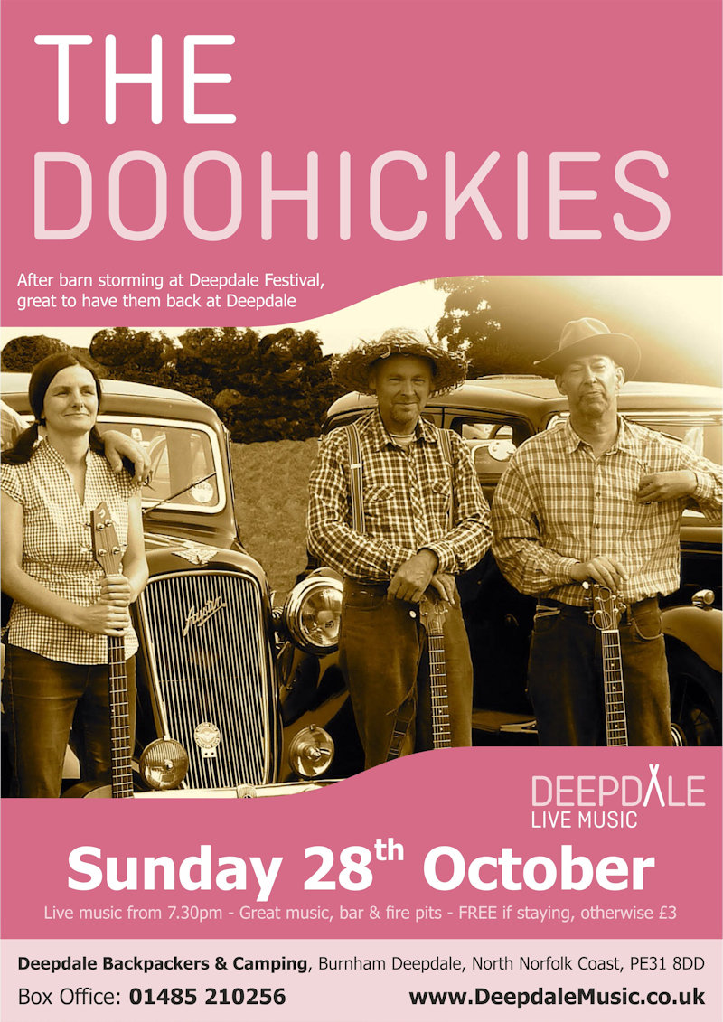 The Doohickies - Sunday Session | The live music programme at Deepdale Backpackers & Camping continues with a Sunday Session from the very entertaining Doohickies.  Fabulous to welcome them back after their barn storming performance at Deepdale Festival. - Dalegate Market | Shopping & Café, Burnham Deepdale, North Norfolk Coast, England, UK