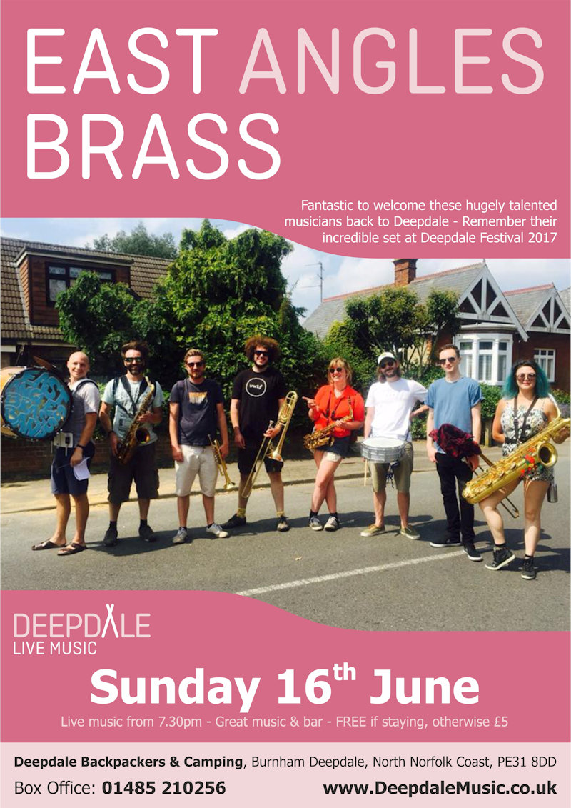 East Angles Brass - Sunday Session | The live music programme at Deepdale Backpackers & Camping continues with a courtyard Sunday Session from the immensely talented East Angles Brass.  You may remember their incredible set in our field at Deepdale Festival 2017. | Deepdale Backpackers & Camping, Deepdale Farm, Burnham Deepdale, North Norfolk Coast, PE31 8DD