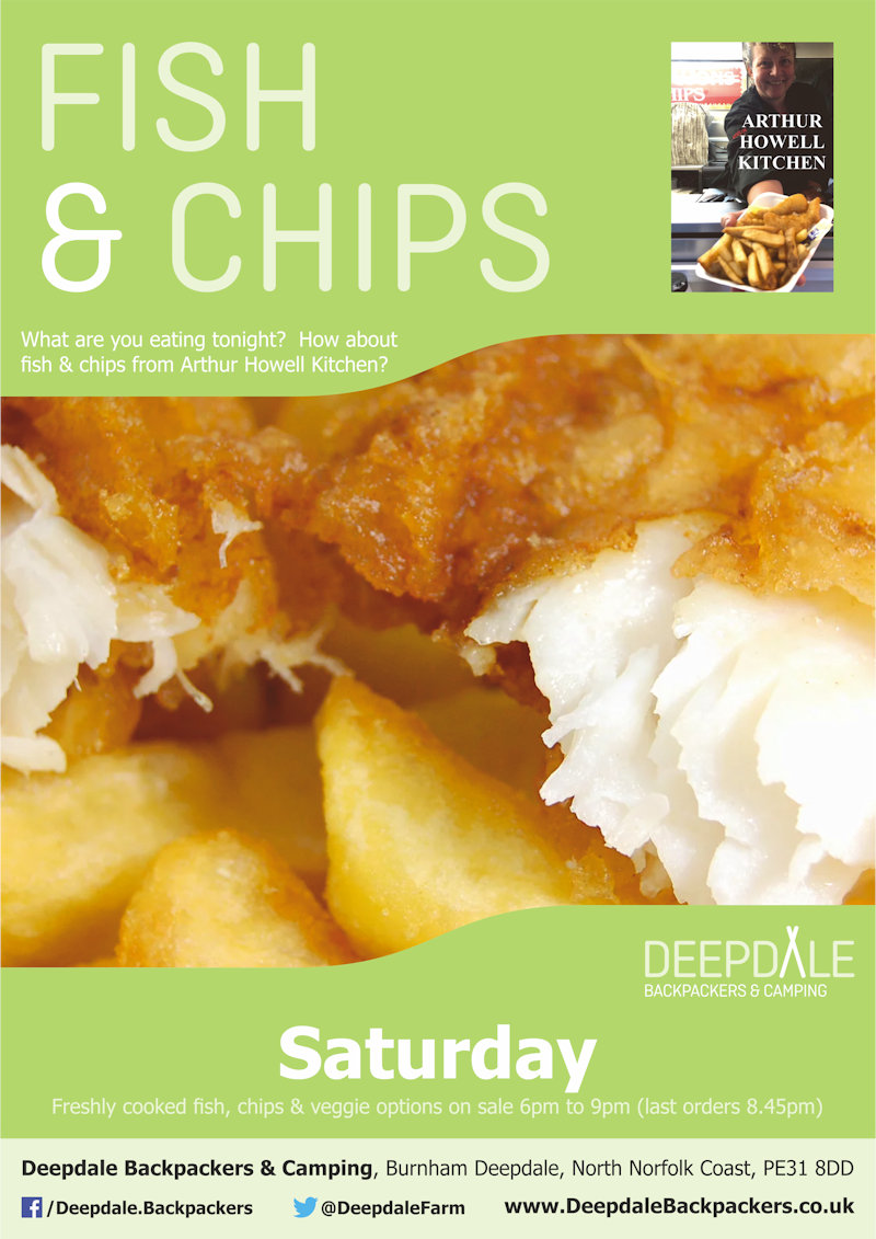 Deepdale Fish & Chips Night, Deepdale Backpackers & Camping, Deepdale Farm, Burnham Deepdale, North Norfolk Coast, PE31 8DD | Seriously tasty fish & chips and veggie options from the Arthur Howell Kitchen, served up at Deepdale during the evening.  Eat in the backpackers courtyard, take back to your tent or get a takeaway to take back home with you elsewhere in the village. | street, food, deepdale, backpackers, fish, chips, goujons