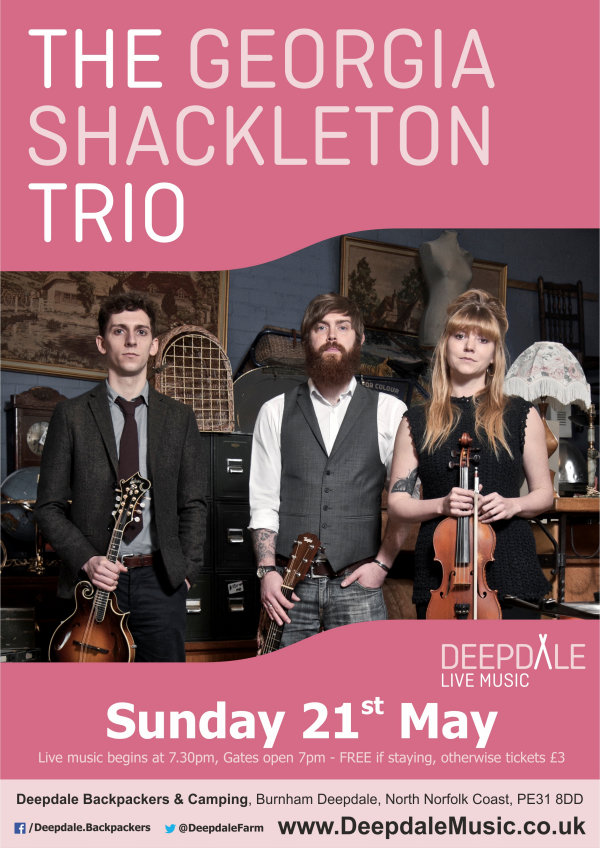 The Georgia Shackleton Trio, Deepdale Backpackers & Camping, Deepdale Farm, Burnham Deepdale, North Norfolk Coast, PE31 8DD | For our inaugural Sunday Session at Deepdale Backpackers, we have a real treat; one of the hottest folk acts around, fresh from the launch of their debut album which is garnering great acclaim across the folk and roots music spectrum. | deepdale, hygge, festival, music, live, danish, happiness, celebration, north norfolk coast, activities, good, feelings, roaring, fire, foraging, walking, cycling, running, wildlife, nature
