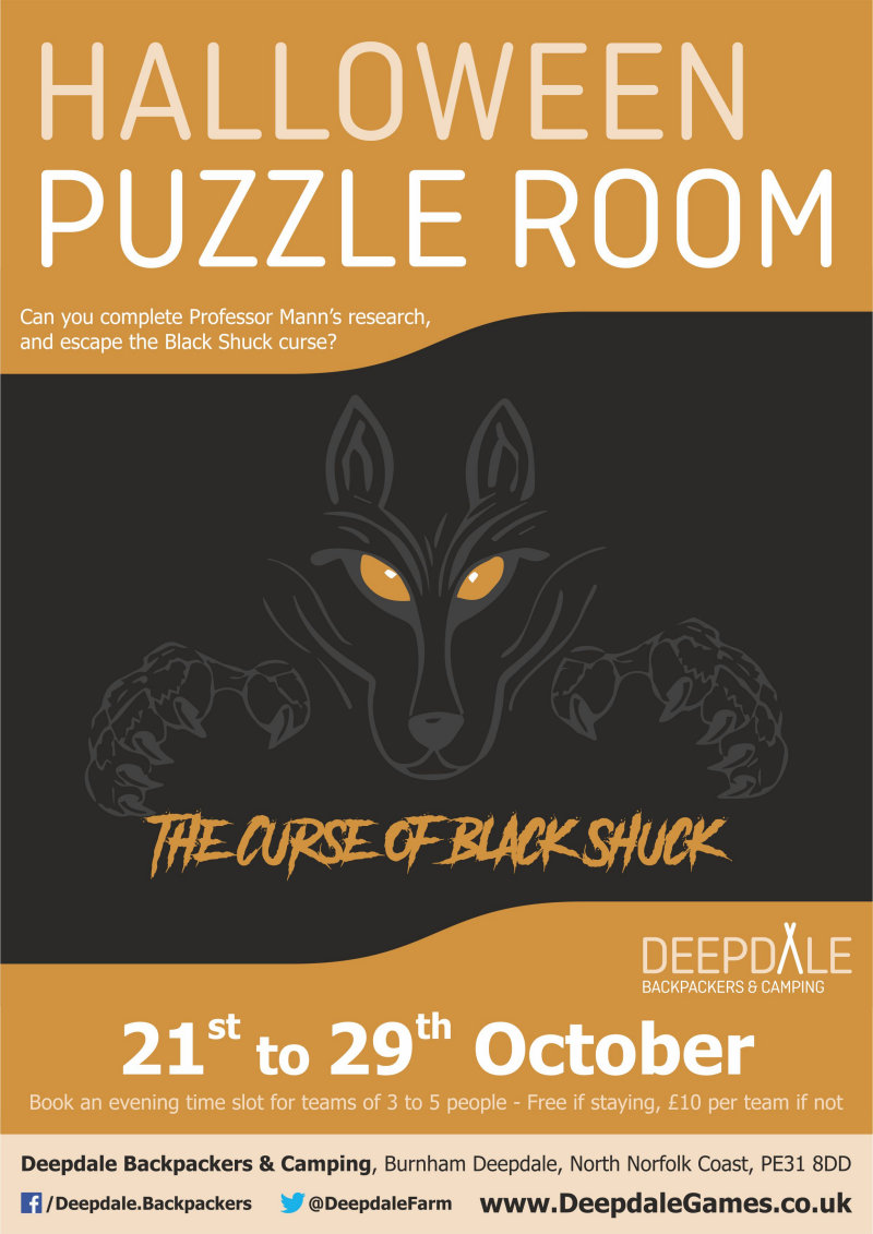 Halloween Puzzle Room - Curse of Black Shuck | Can you break the curse of Black Shuck?  Complete the research of the lost professor by completing the puzzles to avoid the curse! - Dalegate Market | Shopping & Café, Burnham Deepdale, North Norfolk Coast, England, UK