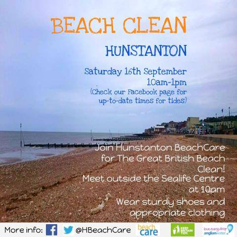 The Great British Beach Clean Hunstanton, Hunstanton Sealife Centre, Hunstanton, North Norfolk Coast | Hunstanton Sealife Centre invite you to join them for the Marine Conservation's Great British Beach Clean!  | beach, clean, north, norfolk, coast, hunstanton