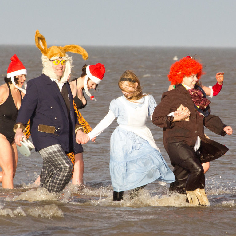 Hunstanton Christmas Day Swim | What better way to spend Christmas morning than frolicking in the sea with over a hundred other people (and many hundred spectators) dressed in a variety of bizarre and outrageous costumes! - Dalegate Market | Shopping & Café, Burnham Deepdale, North Norfolk Coast, England, UK
