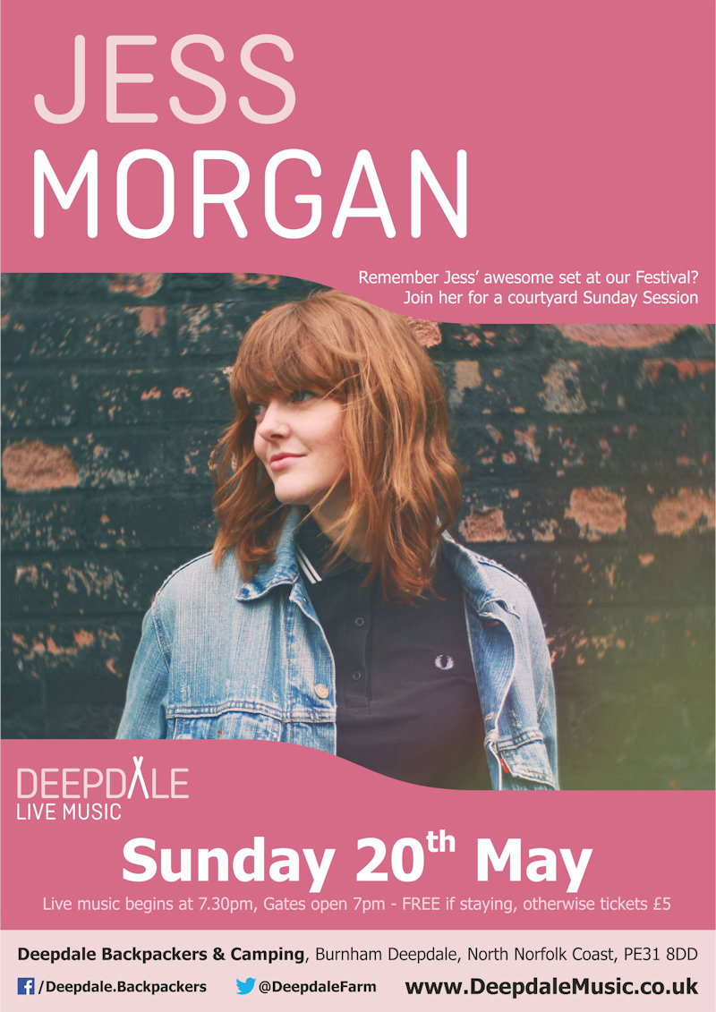 Jess Morgan - Sunday Session, Deepdale Backpackers & Camping, Deepdale Farm, Burnham Deepdale, North Norfolk Coast, PE31 8DD | Remember Jess' awesome headlining set at our Festival back in September.  This time you can enjoy a sunday session, in the backpackers courtyard, with fire pits and bar, while Jess plays her acoustic music. | deepdale, music, live, happiness, celebration, north norfolk coast, activities, good, feelings, roaring, fire, foraging, walking, cycling, running, wildlife, nature