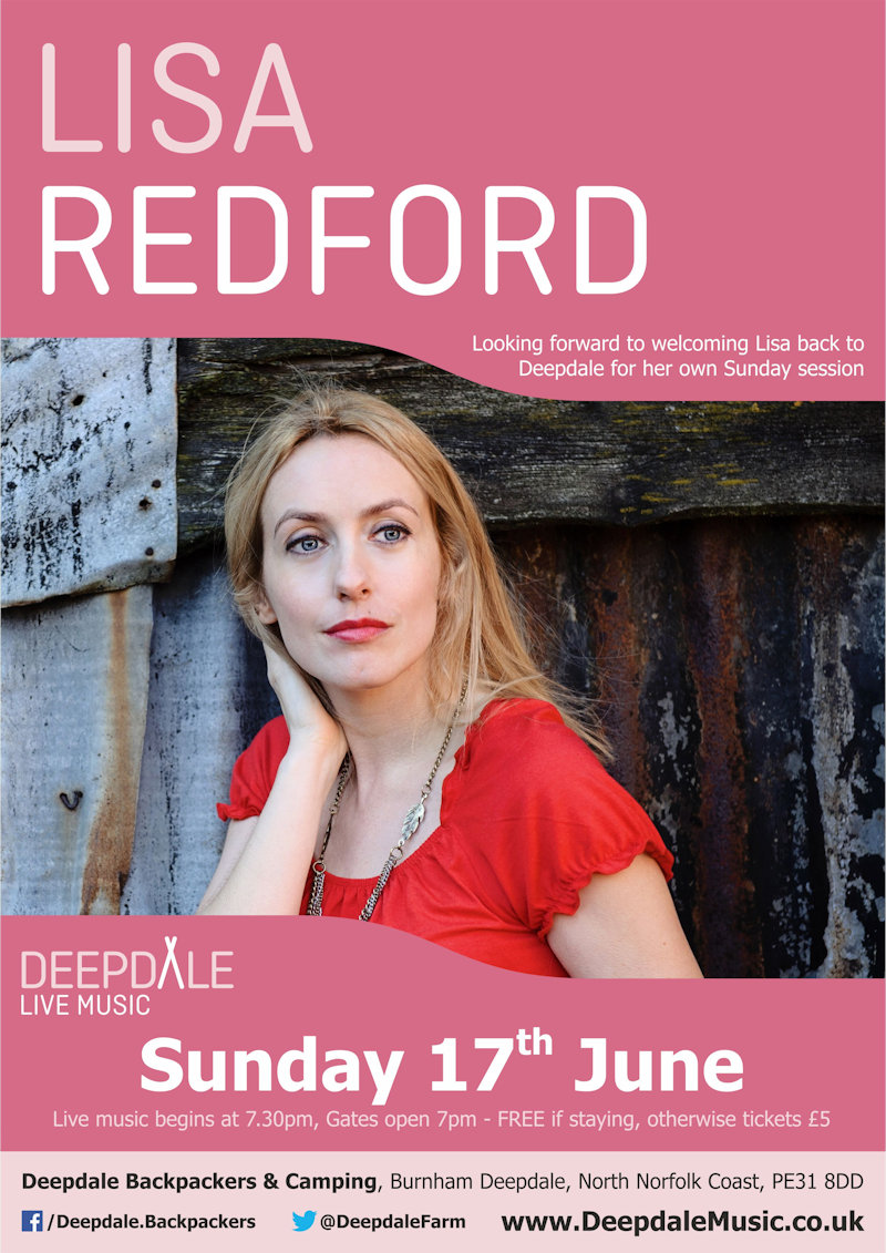 Lisa Redford - Sunday Session, Deepdale Backpackers & Camping, Deepdale Farm, Burnham Deepdale, North Norfolk Coast, PE31 8DD | We look forward to welcoming Lisa back to Deepdale for her own Sunday Session, after her wonderful performance at Deepdale Festival.  Enjoy a Sunday Session, in the backpackers courtyard, with fire pits & bar, while Lisa plays her acoustic music. | deepdale, music, live, happiness, celebration, north norfolk coast, activities, good, feelings, roaring, fire, foraging, walking, cycling, running, wildlife, nature