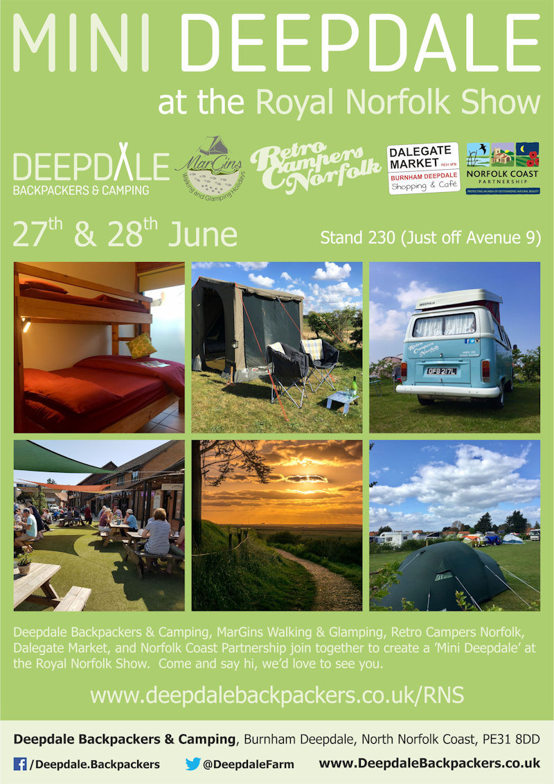 'Mini Deepdale' at the Royal Norfolk Show | Deepdale Backpackers & Camping, MarGins Walking & Glamping, Retro Campers Norfolk, Dalegate Market, and Norfolk Coast Partnership join together to create a 'Mini Deepdale' at the Royal Norfolk Show. - Dalegate Market | Shopping & Café, Burnham Deepdale, North Norfolk Coast, England, UK