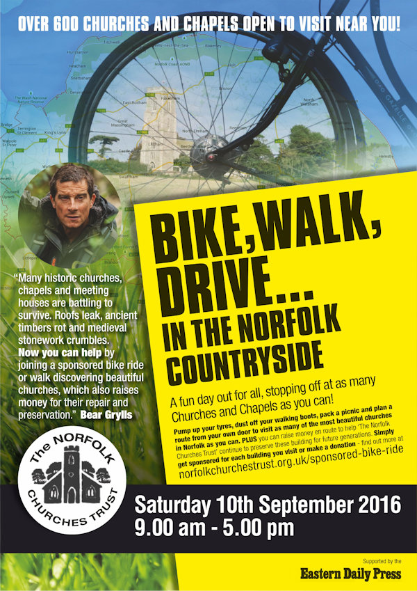 Norfolk Churches Trust Sponsored Cycle Ride | Bike, walk, drive ... in the Norfolk countryside - A fun day out for all, stopping off at as many churches and chapels as you can!  In aid of The Norfolk Churches Trust. - Dalegate Market | Shopping & Café, Burnham Deepdale, North Norfolk Coast, England, UK
