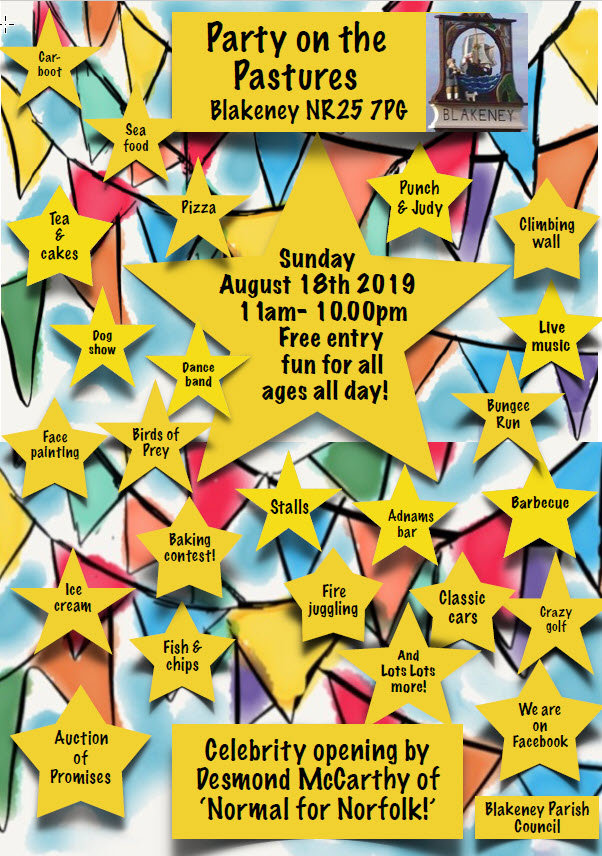 Party on The Pastures, The Pastures, Coast Road, Blakeney, North Norfolk, NR25 7PG | A FREE to attend, summer community event, with something for everyone! | Free, Outdoor, Live Bands, Childrens events, Bar, Dog Show, Food, Big Top