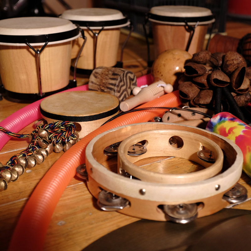 Percussion Workshop with Simon Hallett - Saturday - Deepdale Festival | 26th to 29th September 2019 - Brief overview of a range of percussion instruments, for example, bodhran (round Irish drum), cajon (box drum that is usually sat on), spoons, bones and more.