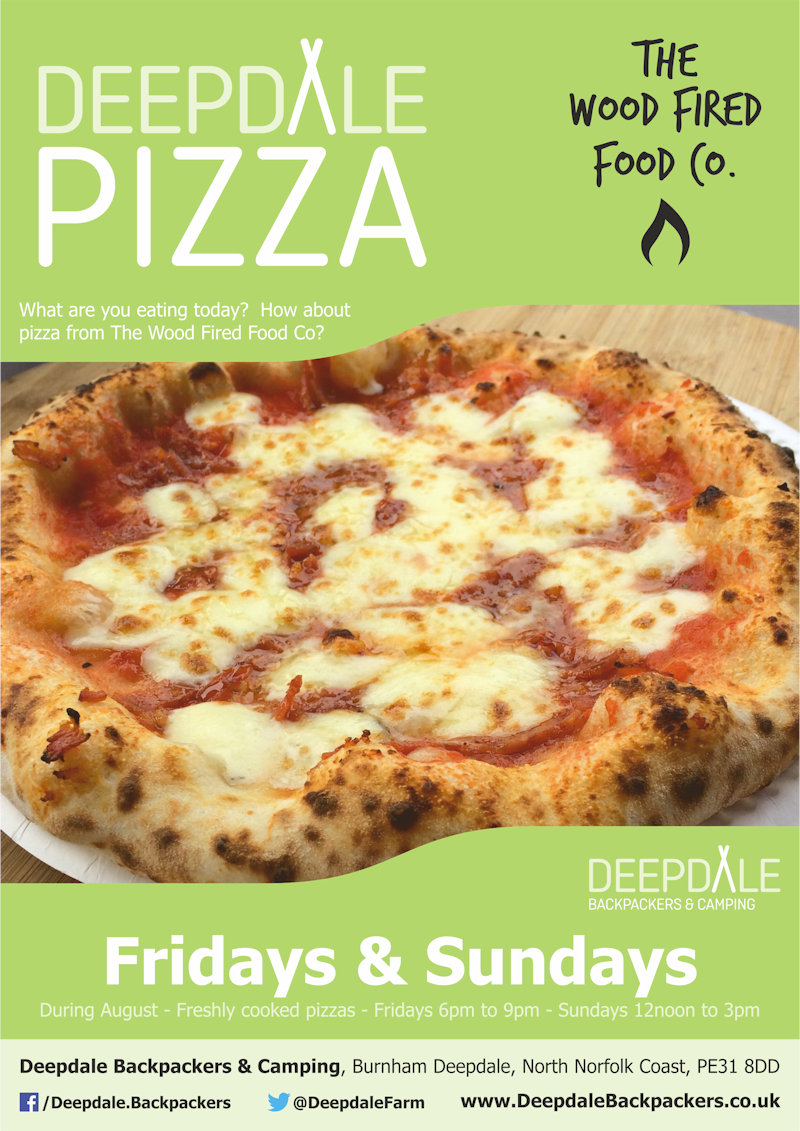 Deepdale Pizza Sunday Lunch, Deepdale Backpackers & Camping, Deepdale Farm, Burnham Deepdale, North Norfolk Coast, PE31 8DD | Very tasty wood fired pizzas from The Wood Fired Food Co, served up at Deepdale Backpackers & Camping during the evening. Take back to your motorhome or get a takeaway to take back home with you elsewhere in the village. | pizza, night, deepdale, backpackers, wood, fired, pizza, company, camping, campsite, evening, meal