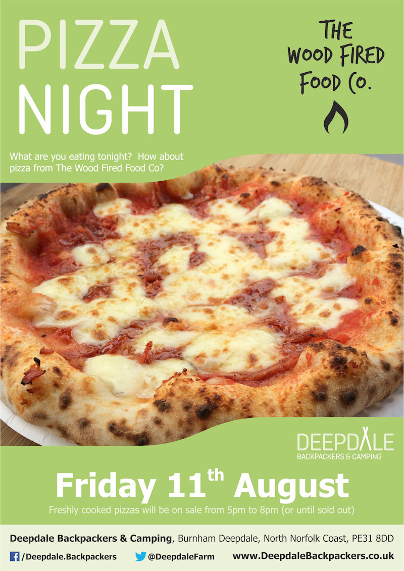 Deepdale Pizza Night, Deepdale Backpackers & Camping, Deepdale Farm, Burnham Deepdale, North Norfolk Coast, PE31 8DD | Very very tasty wood fired pizzas from The Wood Fired Food Co, served up at Deepdale Backpackers & Camping during the evening.  Eat in the backpackers courtyard, take back to your tent or get a takeaway to take back home with you elsewhere in the village. | pizza, night, deepdale, backpackers, wood, fired, pizza, company, camping, campsite, evening, meal