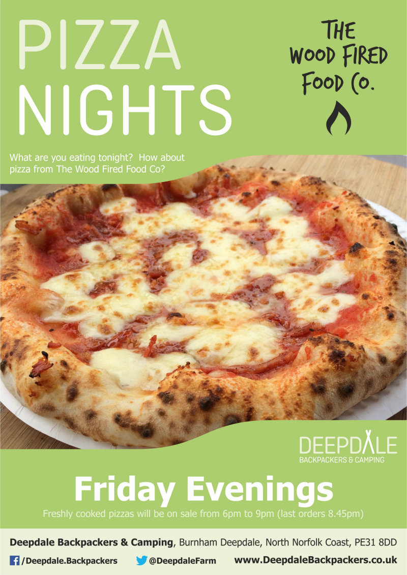 Deepdale Pizza Night, Deepdale Backpackers & Camping, Deepdale Farm, Burnham Deepdale, North Norfolk Coast, PE31 8DD | Very tasty wood fired pizzas from The Wood Fired Food Co, served up at Deepdale Backpackers & Camping during the evening. Eat in the backpackers courtyard, take back to your tent or get a takeaway to take back home with you elsewhere in the village. | pizza, night, deepdale, backpackers, wood, fired, pizza, company, camping, campsite, evening, meal