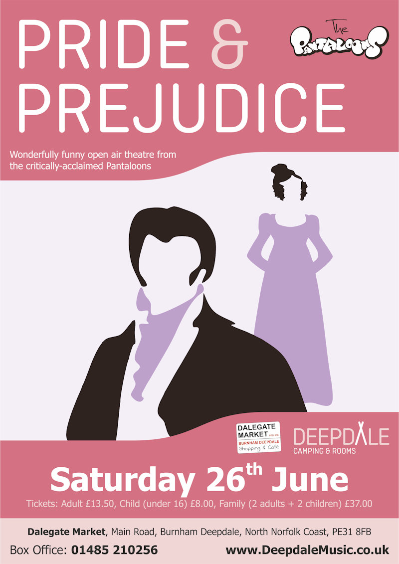 Pride & Prejudice - Open Air Theatre, The Orchard, Dalegate Market, Burnham Deepdale, North Norfolk Coast, PE31 8FB | We are thrilled to welcome back the critically-acclaimed Pantaloons for more open air theatre, their hilarious take on Jane Austen's famous story, Pride & Prejudice. | open, air, theatre, outdoor, shakespeare, pantaloons, as, you, like, it, play, performance