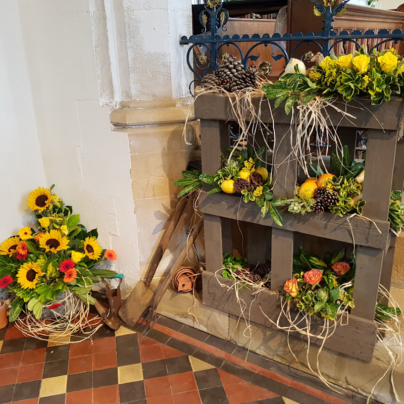 Seasons of the Year Flower Festival, St Mary's Burnham Deepdale PE31 8DD opposite Deepdale farm and Dalegate market | A small but perfectly formed flower festival depicting the Seasons of the Year in St Mary's Church, the lovely roundtower church in Burnham Deepdale. | flower, festival, north norfolk coast, saint, mary, church, st, charity, fundraiser, seasons, proceeds, burnham deepdale, brancaster
