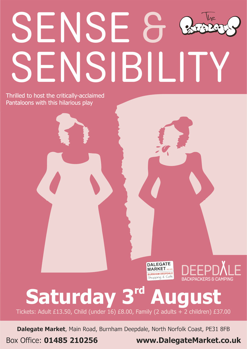 Sense & Sensibility - Open Air Theatre | We are thrilled to welcome back the critically-acclaimed Pantaloons for their newest outdoor theatre play. More details to follow, but we do know it will be an innovative and hilarious open-air show. - Dalegate Market | Shopping & Café, Burnham Deepdale, North Norfolk Coast, England, UK