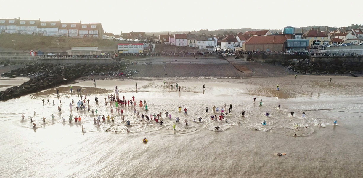 Sheringham New Year's Day Dip, On the Tank Beach, Sheringham, North Norfolk Coast | Plunge into the New Year!  Fancy dress encouraged - £30 Crown Inn voucher for best dressed. | sheringham, new year, dip, sea, swim, fancy, dress