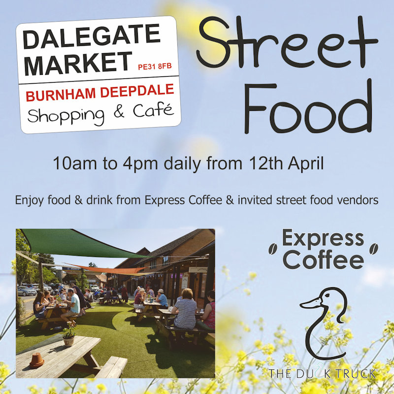 Street Food at Dalegate Market, Dalegate Market, Main Road, Burnham Deepdale, Norfolk, PE31 8FB | With the retirement of Viv & Graham from Deepdale Cafe, the cafe is currently closed, so as a Spring alternative we are welcoming a collection of street food vendors offering delicious food & drink (including cake) for the next few weeks. | street, food, deepdale, burnham, norfolk, north, coast, dalegate, market, coffee, tea, drinks, cake