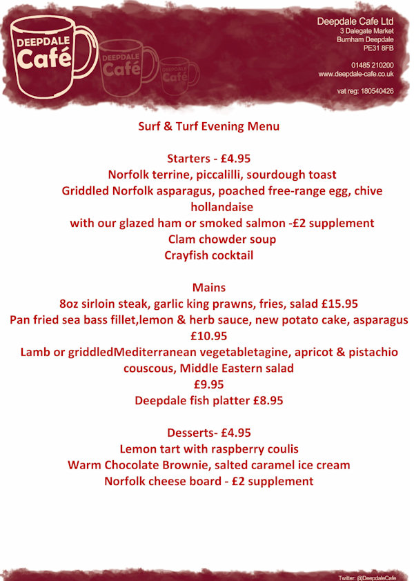 Surf & Turf Night, Deepdale Cafe, Dalegate Market, Burnham Deepdale, North Norfolk Coast | We will be using all locally sourced produce and showing off exactly what we at Deepdale Cafe can do. | deepdale, cafe, surf, turf, night, menu, food, drink