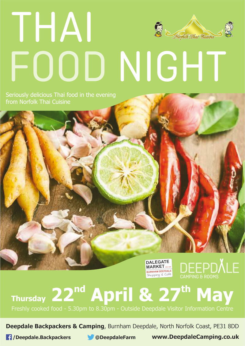Deepdale Thai Food Night | Very tasty Thai food from Norfolk Thai Cuisine served up at Deepdale Camping & Rooms during the evening on two Thursdays. | Deepdale Camping & Rooms, Deepdale Farm, Burnham Deepdale, Norfolk, PE31 8DD