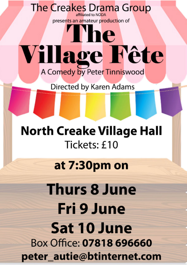 A Play: 'The Village Fete', North Creake Village Hall | The Creakes Drama Group's summer production of Peter Tinniswood's play 'The Village Fete', Directed by Karen Adams is on Thursday 8th, Friday 9th and Saturday 10th June in North Creake Village Hall at 7.30pm each night. | Theatre, Play, Amateur Dramatics, Production,