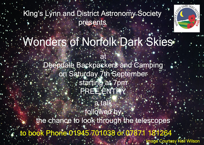 Wonders of Norfolk Dark Skies, Deepdale Backpackers & Camping, Deepdale Farm, Burnham Deepdale, Norfolk, PE31 8DD | Short talk on the objects we can see in the dark skies of the North Norfolk Coast followed by the chance to look through some of King's Lynn & District Astronomy Society telescopes. | star, gazing, west, norfolk, astronomy, dark, skies, sky, wonders, festival