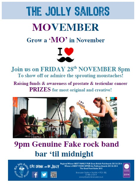 MOVEMBER, The Jolly Sailors, Brancaster Staithe, PE31 8BY - North Norfolk Coast | Grow a MO | Moustache, live music, prizes, fund raising, testicular cancer, prostate cancer movember