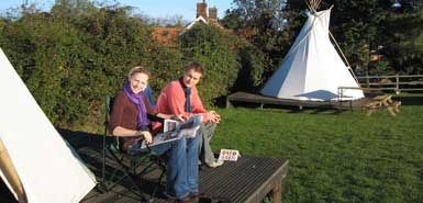 Deepdale Tipis - Unique tipis (teepees or tepees) on the North Norfolk Coast, luxury camping & glamping at its best! Perfect for a family holiday or romantic break for two. Hassle free posh camping. - Deepdale Backpackers & Camping, Deepdale Farm, Burnham Deepdale, North Norfolk Coast, England, UK