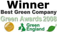 Winner of Best Green Company, Green Awards 2008