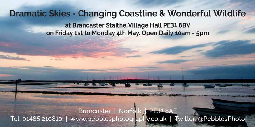 Pebbles Photography Exhibition, Brancaster Staithe & Deepdale Village Hall, Brancaster Staithe, North Norfolk Coast, PE31 8BV | A wonderful exhibition in the village hall, which is a short walk from Deepdale - Dramatic Skies - Changing Coastline - Wonderful Wildlife | photography, exhibition, pebbles, village hall, brancaster staithe, north norfolk coast, dramatic skies, changing coastline, wonderful wildlife