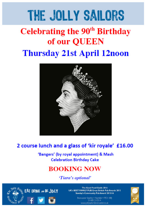Queen's Birthday lunch, The Jolly Sailors, Brancaster Staithe, PE31 8BY | Celebrating the QUEEN's 90th Birthday | Queens Birthday, 90th